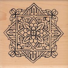 """flower tile 1528N holly berry house Wood Mounted Rubber Stamp 4 x 4"""" free ship"""