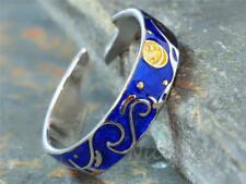 Silberring Sternennacht Starry Night Blau Stern Mond Ring Silber 925
