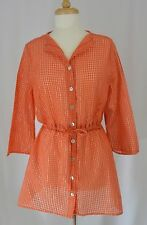 FENINI Orange Metallic Stripe Tunic Top Button Front Shirt Lagenlook Cover Up M