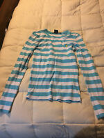 WOMENS RALPH LAUREN SPORT BLUE WHITE STRIPED POLO SHIRT TOP SIZE SMALL