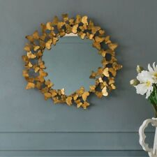lovely  butterflies  CONTEMPORARY GOLD  MIRROR 80cm diameter  NEW
