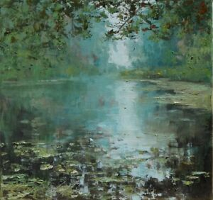 "Wodna"" Original Oil Painting 30x30cm signed Garncarek Al,,"