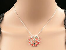 Sparkly crystal neon red flower Hydrangea pendant silver plated necklace S76