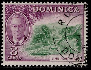 DOMINICA GVI SG123, 3c green & reddish violet, FINE USED.