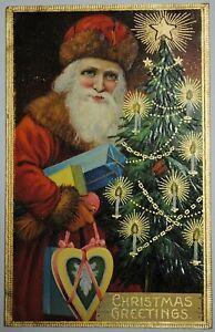 """Vintage Santa Claus Embossed Postcard """"Christmas Greetings"""" 1907-1915"""