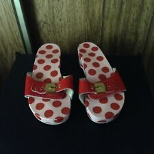 Vintage Dr. Scholls Red Wood Exercise Sandals Made in Italy Size 6