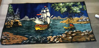 Vintage Tapestry Rug, Sailing Ship, Vivid Colors, Made In Italy