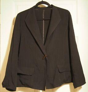 Fridaze Black Linen Jacket Blazer Size Med two pocket
