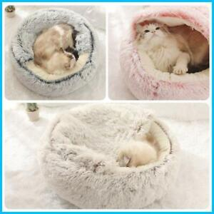 Pet Dog Cat Bed Fluffy Soft Warm Calming Bed Sleeping Kennel Nest