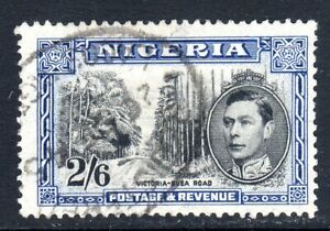 NIGERIA    1942 - sg58a    2/6d value  perf 13 1/2  black & blue  used cv £9.50