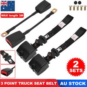 Universal Retractable Seat Belt 2 Sets 3 Point 3M Car Safety Seatbelt Lap Strap