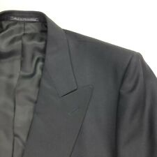 Ermenegildo Zegna Men's Black Satin Lapel Tuxedo Dinner Suit Jacket • Size 46L