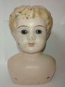 """Antique Tin Metal Doll Head Germany Minerva Number 3 Vintage Doll Bust 4"""" Tall"""