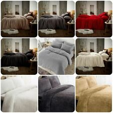 Fleece TEDDY BEAR Duvet Quilt Cover Warm & Cozy Soft Bedding Sets + Pillow Cases