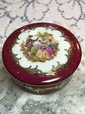 Limoges Porcelain Gold Gilded French Round Trinket Box Courting Scene