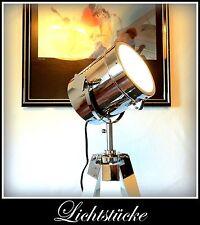 Holz - Tripod - Steh - Lampe - Leuchte - in weiß mit dimmbaren LED Leuchtmittel
