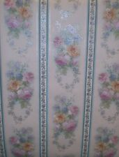Multi-Color White, Blue, & Green Flower Satin Wallpaper by Imperial 85119HD