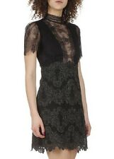 SANDRO Black V Neck Short Length Gold Line Lace Evening Poetry Dress Size 1 NWT
