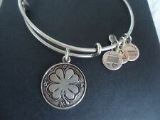 Alex and Ani FOUR LEAF CLOVER Russian Silver Charm Bangle New W/ Tag Card & Box