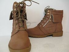 Top Moda Womens Plus-1 Fashion Casual Lace Up Ankle Boots Tan Size 10