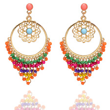 Dangle Hollow Flower Ear Stud Earrings 1Pair Bohemia Colorful Seed Beads Tassel