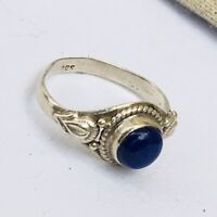 Vintage Stylish Lapis Lazuli Sterling Silver Ring Size N