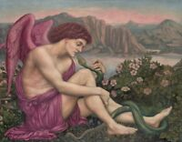 """oil painting handpainted on canvas """"The angel with the serpent  """""""