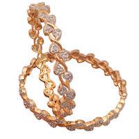 Stylish 2pcs Leaf Bangle Bracelet Fashion Women Gold Jewelry
