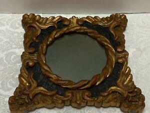 "Gilt Wood MIRROR Ornate Gold & Black 9"" Framed Round 5"" Mirror"