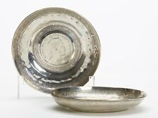 PAIR ANTIQUE ISLAMIC SILVER DISHES MOUNTED WITH COINS 19 C.