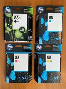 Genuine HP 88XL Black, HP 88 Magenta, Yellow, Cyan Ink Cartridges Lot of 4 New