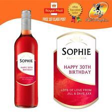 Rosa Personalizzato Grenache bottiglia di vino etichetta Regalo Di Compleanno Ogni Occasione