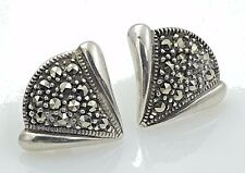 VINTAGE .925 Sterling Silver & Marcasite, Decorative Petite Earrings, Posts