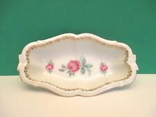 "Schwarzenhammer 7 1/2"" White Oval Porcelain Dish with Pink Roses, Germany"