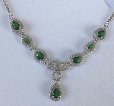 NE 02 Green Emerald Pear Sim Diamond White Gold GF Statement Necklace Plum BOXED