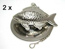Stainless steel fish shaped tea infuser with tray, *** Set of 2 pieces ***
