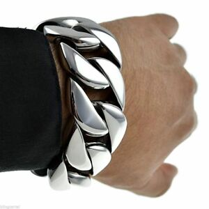 """Huge Bracelet 316L Stainless Steel 30MM Thick Chunky Cuban Link Big 8.5"""" x 30MM"""