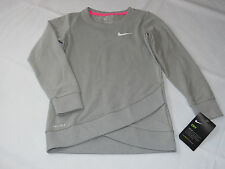 Nike Dri Fit little girls Crossover Long Sleeve Sweatshirt 5 S 4-5 years Grey^^