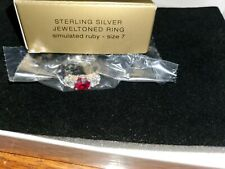 Vintage Avon Sterling Silver Jeweledtone Simulated Ruby Ring Size 7 NOS