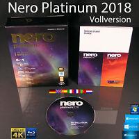 Nero 2018 Platinum Vollversion Box + CD 4K Multimedia 6in1 Brennsoftware OVP NEU