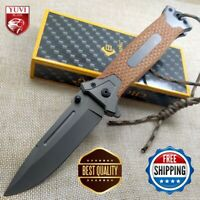 "8"" Tactical Folding Pocket Knife Titanium Steel Blade Handle Survival Outdoor"