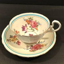Vintage Aynsley Floral Teacup Saucer Turquoise Aqua Band Claridge #7522 Tea Cup
