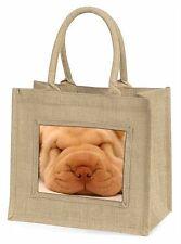 Cute Shar-Pei Puppy Dog Large Natural Jute Shopping Bag Christmas Gift, AD-90BLN