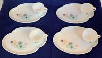 Vintage Federal Milk Glass Atomic Flower Leaf Snack Plate Tray Tea Cup pink blue