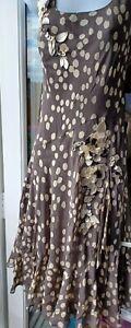 FENN WRIGHT MANSON  Size 10 Mink Polka Dot - 100% Silk Knee Length Dress Petite