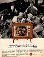 1965 ORIGINAL VINTAGE RCA VICTOR COLOR TV MAGAZINE AD FEATURING BONANZA CAST **