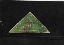Cape of Good Hope Scott #6 used 1 shilling yellow green triangle stamp 3 margins
