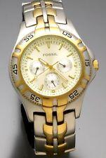 Retro Fossil Wrist Watch with Two Tone Band Quartz 2006