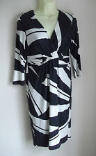 Planet Ladies Womens Navy Blue / White ¾ Sleeve Knee Length Dress - Size 8