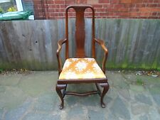original queen ann splat back carver armchair, elbow chair.